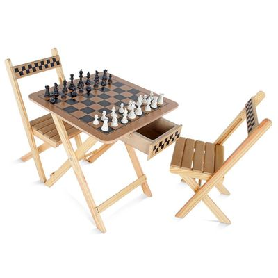 Mesa de Xadrez Carlu 2 Cadeiras em MDF