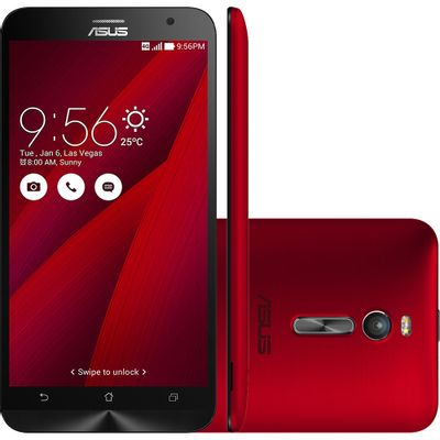 Smartphone Asus Zenfone 2 ZE551ML, 4G Android 5.0 Intel Quad Core 2.3GHz 16GB Câmera 13MP Tela 5.5 ´ , Vermelho