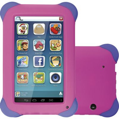 Tablet Kid Pad Multilaser NB195, 3G Android 4.4 Quad Core 8GB Cam�ra 2.0MP Tela 7, Rosa