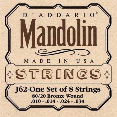 Encordoamento Para Bandolim J62 Médio 010 D`addario