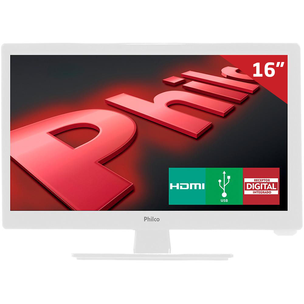 Monitor TV LED 16 ´ 16D10BC Philco, HD HDMI USB com Conversor Digital
