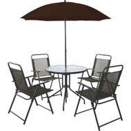 Jogo-de-Mesa-com-Tampa-de-Vidro---4-Cadeiras-e-Guarda-Sol-Sunfit