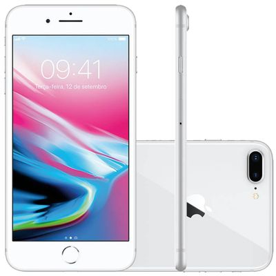 "iPhone 8 Plus Apple 4G iOS 12 64GB Câmera 12MP Tela Retina HD 5.5"", Prata"