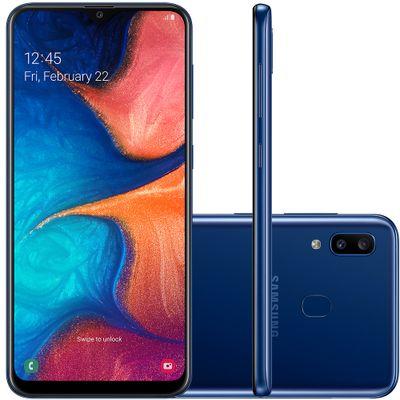 "Smartphone Samsung Galaxy A20 SM-A205G, Android 9.0 Octa Core 32GB Câmera Dupla Traseira Tela 6.4"", Azul"